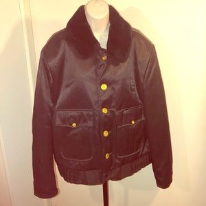 Other - VINTAGE satin bomber fur collar quilted lining
